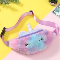 Wholesale gifts teenagers for sale - Group buy Kid Unicorn Stuffed Pencil Waist Bag Belt Fanny Pack Beach Student Teenager Purses Sports Unisex Gym Outdoor Cosmetic Bags Nice Gift FWF2582