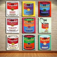 Wholesale picture frames sets for wall resale online - Andy Warhol Campbell s soup set x30 quot Home Decoration Handpainted Oil Paintings On Canvas Wall Art Pictures For Wall Decor