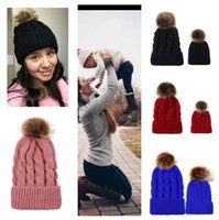 Wholesale fur family for sale - Group buy 9 Colors Twist Knit Winter Beanies Crochet Hats Children Kids Adults Family Matching Headwear Fashion Skull Cap with big Pom Fur BallE101905