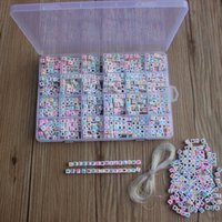 1620pcs English Letters Acrylic Beads Cover Square Flat Bead For Jewelry Making Charm Bracelet Necklace Plastic Letter Beads 200930