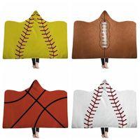Wholesale Softball Blankets Adult Wearable Hooded Blanket Sporty Warm Blankets Baseball Softball Winter Sofa Bedding Cover Sea Shipping DDA715