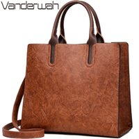 Wholesale oil skin bags resale online - NEW Vintage OIL SKIN Leather Big Casual Tote women bags High Quality Women s Handbags Shoulder Crossbody Bag Messenger Bags sac