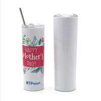Wholesale personalized tumbler resale online - 20oz oz Sublimation Blank Skinny Tumbler Personalized Stainless Steel Milk Coffee Mug Outdoor Portable Travel Cup with Lid