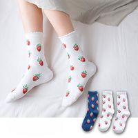 Wholesale strawberry milk for sale - Group buy Ins Fruit Strawberry Korea sweet fruit strawberry milk cotton comfortable Lori women s socks fashion socks SOIG0
