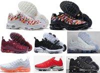 Wholesale shoes boys flag resale online - 2018 New arrival Tn Plus Running Shoes boys Men black white World Cup National Flag QS Ultra Outdoor Sport Training Tennis Shoe Sneaker