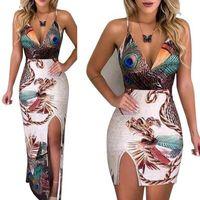 Wholesale mini peacock for sale - Group buy Summer Elegant Women Sling V Neck Peacock Feather Print Split Pencil Dress Female Bodycon Mini Short Vestidos Beach Sundress