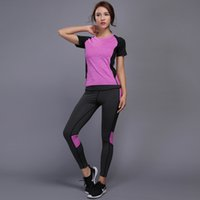 mulheres de roupas de musculação venda por atacado-New Mulheres Yoga Set Gym Fitness magros shirt das calças justas Jogging Workout Yoga Leggings Suit Sport Bodybuilding Roupa