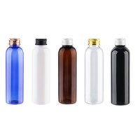 Wholesale white toner refill for sale - Group buy 30pcs ml black white Empty Plastic Bottle With Gold Silver Black Aluminum Screw Top Cap Refillable Shampoo Toner Containe