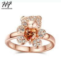 Wholesale bear rings resale online - Cute Little Bear Crystal Rings for Women Girls Rose White Gold Color Colors Zirconia Fashion Jewelry for Kids Xmas Gift R104