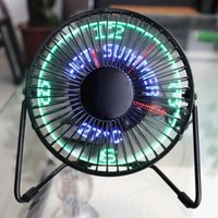 Wholesale 5v fan usb for sale - Group buy 5v Usb Fan Cooler For Car Desk Speed With Light Led Inch Iron Art Usb Fan Portable Operation Super Mute Silent Good Quality T200518