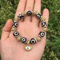 Wholesale tibetan agate beads for sale - Group buy SnBq2 Natural beads Agate crystal Green Pine K plate beads chain devil s Eye Bracelet Tibetan Agate Bracelet jewelry fXP