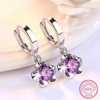 Wholesale plum blossom earrings for sale - Group buy Plum Blossom Peony Flower Purple Red Crystal Sterling Silver Earrings Jwelry For Women Hoop Earrings Oorringen Zilver