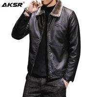 Wholesale plus moto jacket resale online - 2020 Men s Leather Jacket Fur Collar Solid Plus Velvet Thick Faux Leather Coat Men Clothing PU Fashion Classic Moto Biker Male