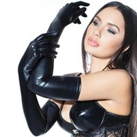 Wholesale punk leather gloves for sale - Group buy Fashion Night Club Party Pole Dancing PU Leather Long Gloves Women Gothic Punk Full Finger Latex Gloves Cosplay Costumes