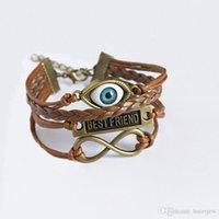 Wholesale evil eye jewelry for men resale online - Charm Bracelets for Women Angel Bracelets Evil Eye Braclet Men Male Vintage Jewelry Leather Bracelet