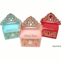 Wholesale paper princess crowns resale online - Princess Crown Wedding Candy Boxes Chocolate Gift Boxes Romantic Paper Candy Bag Box Wedding Candy Boxes Favor