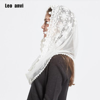 Wholesale lace infinity scarves resale online - Leo anvi Lace Infinity scarf women Ivory white Mantilla Traditional catholic chapel veil hijab scarf and wraps muslim hijab