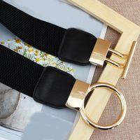 Wholesale wide elastic for waistbands for sale - Group buy Pu Leather Elastic Belt Women Metal Buckle Wide Waist Belts For Female Elegant Slim Girdle Solid Waistband Fashion Cummerbund bbyynY