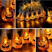 Wholesale pumpkin decoration resale online - Halloween Decor Pumpkin String Lights M M LEDs Battery Operated Halloween Light Outdoor Decoration For Patio Garden Gate Yard HH9