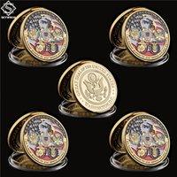 5PCS USA Military Craft Freedom Eagle Gold Commemorative Navy USAF USMC Army Coast Guard Rare Token Challenge Coin