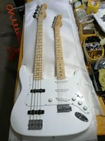 Wholesale custom double neck guitars resale online - Custom Top Quality White Maple Fingerboard String Double Neck Solid Electric Guitar Support Custom Service