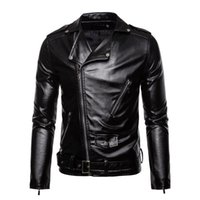 Wholesale long moto jacket resale online - Autumn Winter Men Leather Jacket New Men s Fashion Moto Biker PU Leather Jackets Coat Male Red Jacket