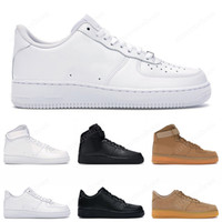 couper la plate-forme achat en gros de-Nike Air Force 1  Hommes Femmes Designer airforce 1 Casual Sneakers Skateboard Chaussures Low Black White Utility Red Flax High Cut High quality Mens Trainer Sports Shoe