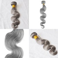 Wholesale silver blonde hair for sale - Group buy brazilian body wave silver grey hair extensions g piece human grey hair weave brazilian body wave gray blonde virgin hair extensions