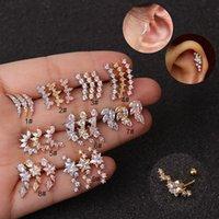 Wholesale ear piercing studs star resale online - 1pc Zircon Star Moon Stainless Steel Leaf Small stud Piercing Earrings for Women Creative Ear Bone Small Puncture Pin Jewelry