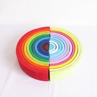 Wholesale boys toy room for sale - Group buy Twelve of you Wooden rainbow boy toy building block rainbow stacked classification Montessori toys boy s room decoration