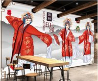 Wholesale chinese dining room wallpaper for sale - Group buy 3d wallpaper custom photo Chinese hand painted Peking opera Huadan beauty dining room home decor d wall murals wallpaper for walls d