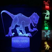 Wholesale glowing dinosaur toy resale online - Dinosaur D Illusion Colors LED Touch Sleeping T rex unicorn Animal Night Light baby room lamp Glow In The Dark Toy Kid Gift