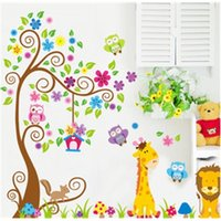 Discount adornment wall stickers Kindergarten child room decorates a cute owl flower stickers in household adornment to stick on the wall 201203
