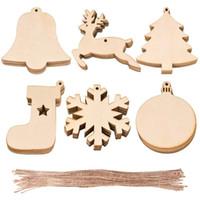 Wholesale natural christmas ornaments resale online - 10pcs bag Decoration Wooden Socks Christmas Tree Deer Natural Wooden DIY Christmas Tree Hanging Ornaments Xmas Pendant AHE2268