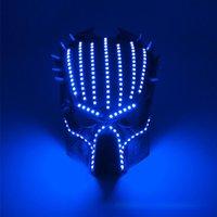 Wholesale predator movie mask resale online - hot sell Halloween Face Mask colors predator luminous led mask V movie theme cosplay props Designer Face Masks AHD2323