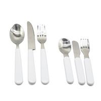 Sublimation White Dinnerware Tableware Set Stainless Steel Cutlery Dinnerware Western Silverware Kitchen Knife Spoon Fork Dinner Set H12504