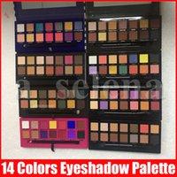 Wholesale brown eyeshadow palette resale online - Multi Color Colors Eyeshadow Palette with Brush Soft Mordern Stripe Rose Gold Eye Shadow Powder Palette Styles
