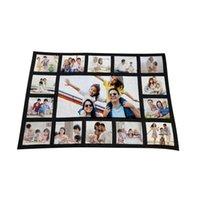 Wholesale bedding heating resale online - 125 CM Sublimation Thermal Fleece Blanket Heat Printed Fabric Plush Mat DIY Blank Carpet Grids Plaid Blankets Bed Quilt F102002
