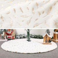 Wholesale rabbit flooring resale online - Christmas cm Tree Skirt Bronzing Feather Ornament Imitation Rabbit Fur Floor Mat Xmas New Year Party Decoration DG4E