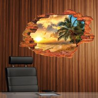 Discount adornment wall stickers Free shipping:3D Broken Wall Sunset Scenery Seascape Island Coconut Trees Household Adornment Can Remove The Wall Stickers 201203