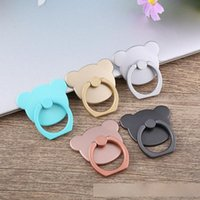 Wholesale tablet anti theft resale online - Creative Cartoon Bear Mobbile Phone Ring Buckle Finger Ring Stand Bracket Holeder Mount Ring Following Grip Fashion Shell Tablet Anti theft