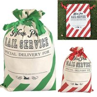 Wholesale refrigerator types for sale - Group buy Christmas Bags Red Striped Sack Bags Santa Sack Drawstring Bag Canvas Candy Storage Bag Xams Canva Gift Bags Christmas Decorations CCB2162