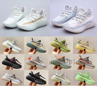 Wholesale green boys canvas shoes for sale - Group buy Kanye West M Reflective Infant Yecheil womens Kids shoe Running Shoes Static Glow Green Clay Trainers Boy Girl Children Toddler Sneaker