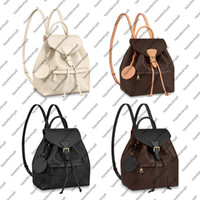 Wholesale canvas backpacks resale online - M45205 M45515 MONTSOURIS PM elegant women genuine cowhide leather emobss canvas buckle backpack satchel purse shoulder bag