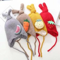 Wholesale cartoon earflap baby hat for sale - Group buy Baby Soft Warm Cartoon Knotted Beanie Cap Girls Boys Winter Wool Knitted Hat Earflap Casual Crochet Knit Hats Children Girl Caps
