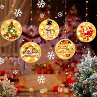 Wholesale christmas windows decorations for sale - Group buy LED string Christmas atmosphere curtain window decoration room decoration with painted hanging plate copper wire hanging suction cup