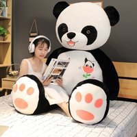 Wholesale big panda pillow resale online - Giant panda cm cm child plush animal pillow cartoon toy big pillow in bed