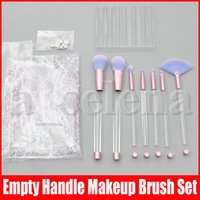 Wholesale portable bag handles resale online - Makeup Brushes with Empty Clear Handle Portable and Glitter with Cosmetic Bag Over DIY Brushes Set