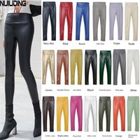 Wholesale yellow leather pants resale online - NIJIUDING Women s Pu Leather Pant Autumn Winter Multi Color Stretch High Waist plus Velvet Slim Skinny Pants Woman Leggings