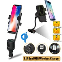 Wholesale phone holder usb lighter online – Universal Qi Cigarette Lighter Car Charger Wireless Car Phone Holder Mount Dual USB Wireless Charging Charger For iPhone Pro C1016
